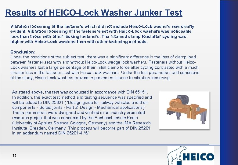 Results of HEICO-Lock Washer Junker Test Vibration loosening of the fasteners which did not