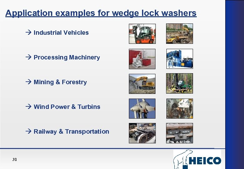 Application examples for wedge lock washers Industrial Vehicles Processing Machinery Mining & Forestry Wind