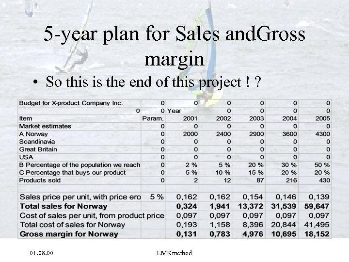 5 -year plan for Sales and. Gross margin • So this is the end