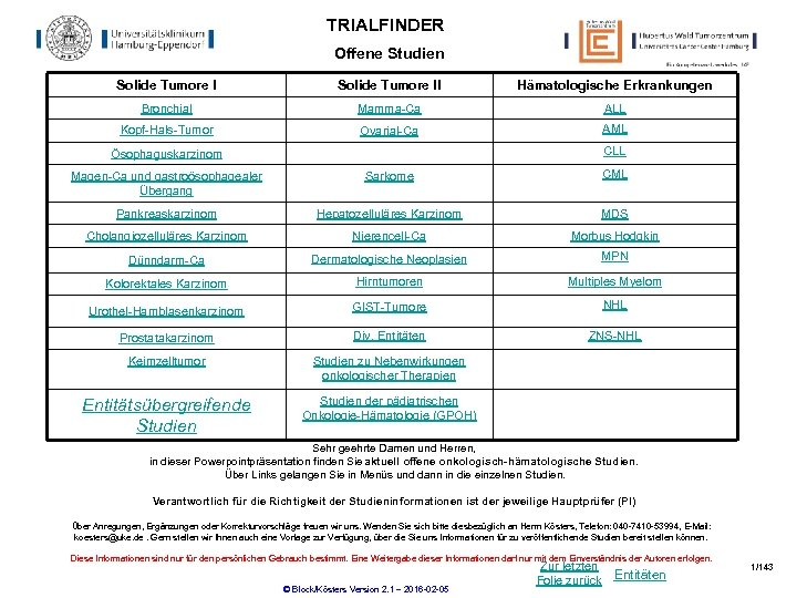 TRIALFINDER Offene Studien Solide Tumore II Hämatologische Erkrankungen Bronchial Mamma-Ca ALL Kopf-Hals-Tumor Ovarial-Ca AML