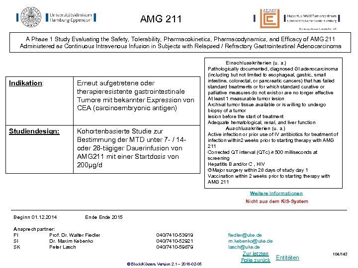 AMG 211 A Phase 1 Study Evaluating the Safety, Tolerability, Pharmacokinetics, Pharmacodynamics, and Efficacy