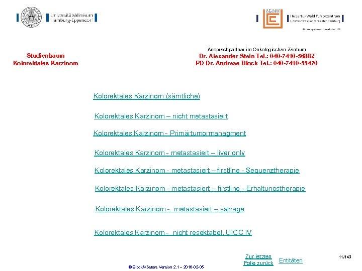 Ansprechpartner im Onkologischen Zentrum Studienbaum Kolorektales Karzinom Dr. Alexander Stein Tel. : 040 -7410
