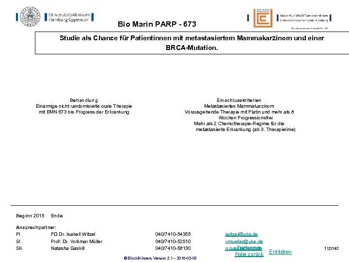 Bio Marin PARP - 673 Studie als Chance für Patientinnen mit metastasiertem Mammakarzinom und