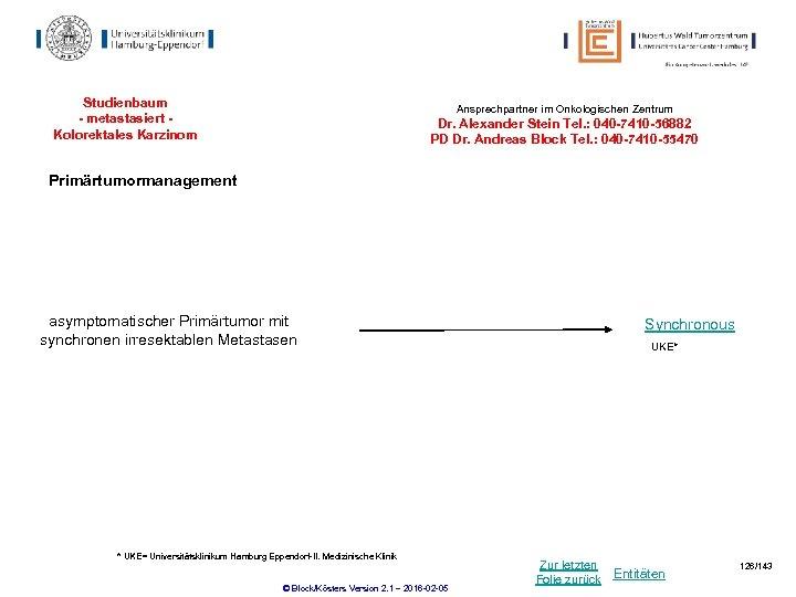 Studienbaum - metastasiert Kolorektales Karzinom Ansprechpartner im Onkologischen Zentrum Dr. Alexander Stein Tel. :