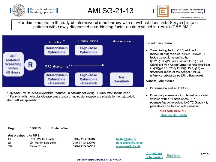 AMLSG-21 -13 Randomized phase III study of internsive chemotherapy with or without dasatinib (Sprycel)