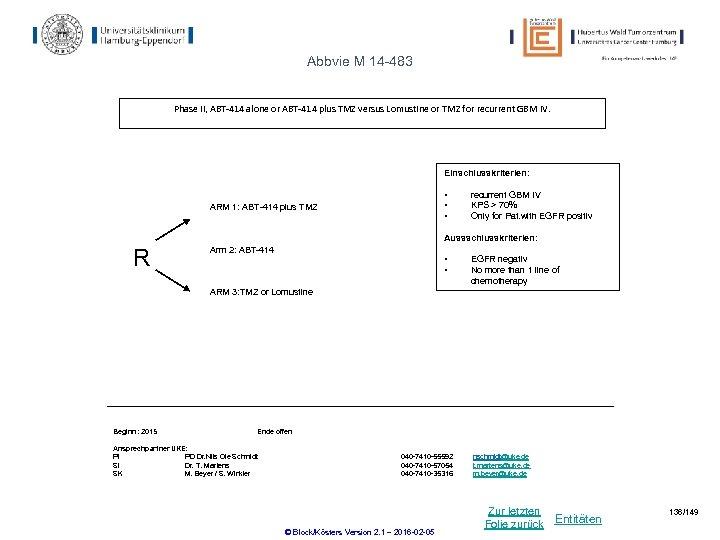 Abbvie M 14 -483 Phase II, ABT-414 alone or ABT-414 plus TMZ versus Lomustine