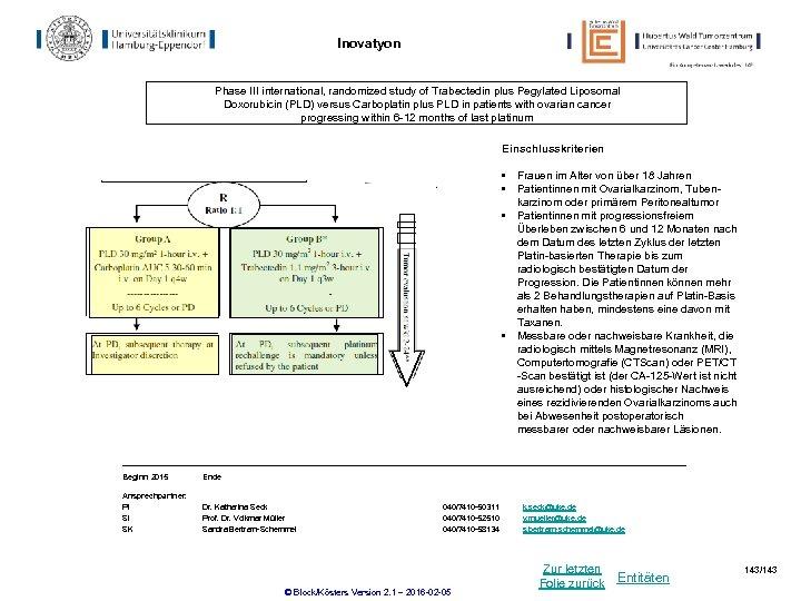 Inovatyon Phase III international, randomized study of Trabectedin plus Pegylated Liposomal Doxorubicin (PLD) versus