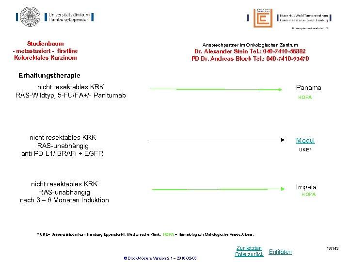 Studienbaum - metastasiert - firstline Kolorektales Karzinom Ansprechpartner im Onkologischen Zentrum Dr. Alexander Stein