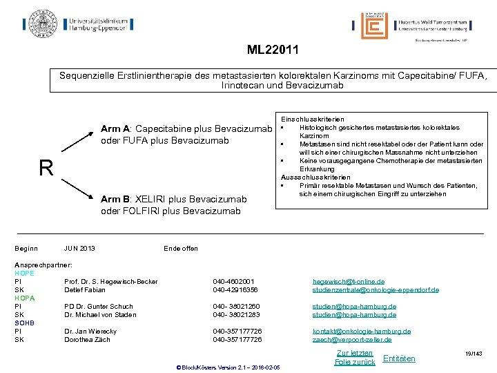 ML 22011 Sequenzielle Erstlinientherapie des metastasierten kolorektalen Karzinoms mit Capecitabine/ FUFA, Irinotecan und Bevacizumab