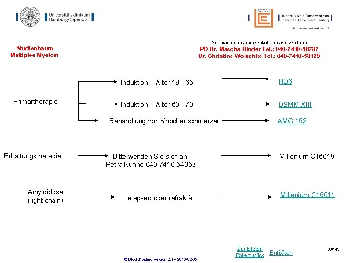 Ansprechpartner im Onkologischen Zentrum Studienbaum Multiples Myelom PD Dr. Mascha Binder Tel. : 040