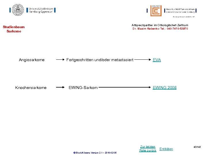 Ansprechpartner im Onkologischen Zentrum Dr. Maxim Kebenko Tel. : 040 -7410 -53970 Studienbaum Sarkome