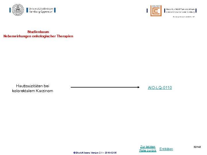 Studienbaum Nebenwirkungen onkologischer Therapien Hauttoxizitäten bei kolorektalem Karzinom AIO-LQ-0110 © Block/Kösters Version 2. 1
