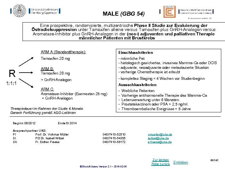 MALE (GBG 54) Eine prospektive, randomisierte, multizentrische Phase II Studie zur Evaluierung der Östradiolsuppression