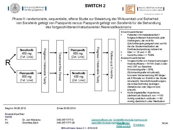 SWITCH 2 Phase III randomisierte, sequentielle, offene Studie zur Bewertung der Wirksamkeit und Sicherheit