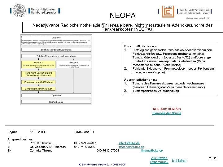 NEOPA Neoadjuvante Radiochemotherapie für resezierbare, nicht metastasierte Adenokarzinome des Pankreaskopfes (NEOPA) Einschlußkriterien u. a.