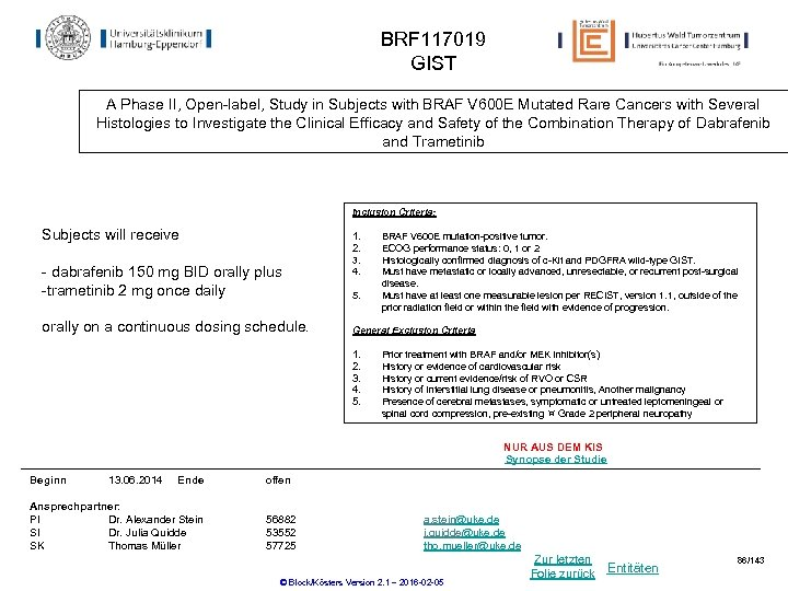 BRF 117019 GIST A Phase II, Open-label, Study in Subjects with BRAF V 600