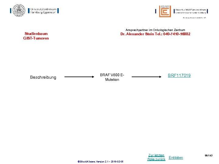 Ansprechpartner im Onkologischen Zentrum Studienbaum GIST-Tumoren Beschreibung Dr. Alexander Stein Tel. : 040 -7410