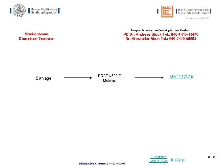 Ansprechpartner im Onkologischen Zentrum Studienbaum Dünndarm-Tumoren Salvage PD Dr. Andreas Block Tel. : 040
