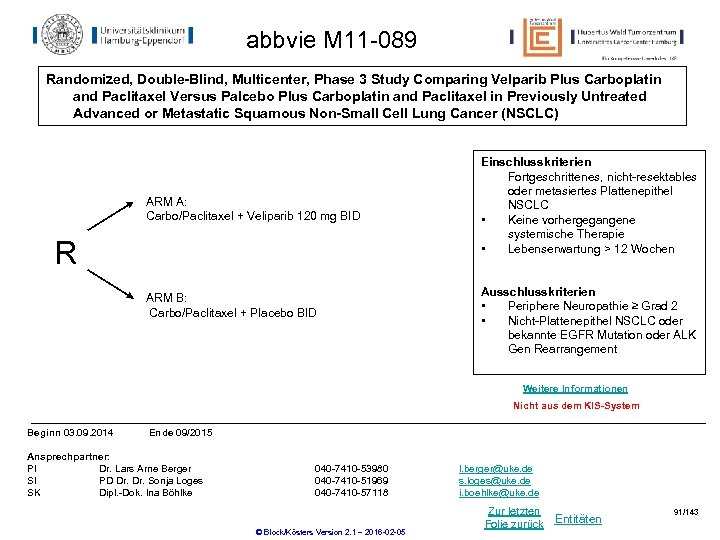 abbvie M 11 -089 Randomized, Double-Blind, Multicenter, Phase 3 Study Comparing Velparib Plus Carboplatin