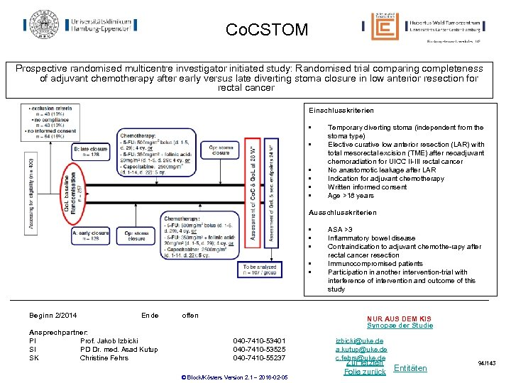 Co. CSTOM Prospective randomised multicentre investigator initiated study: Randomised trial comparing completeness of adjuvant