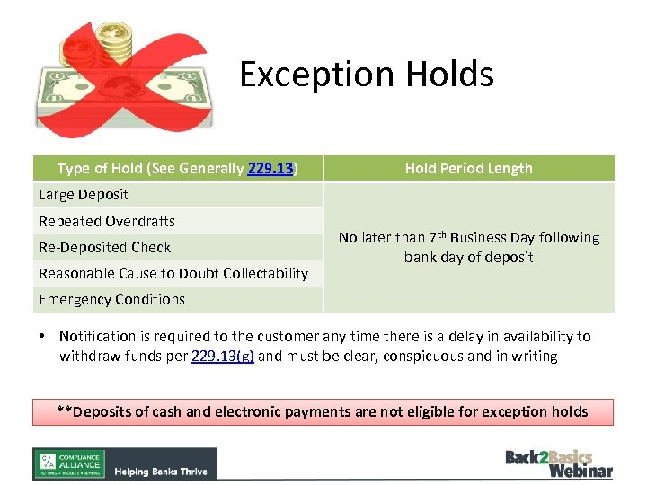 Exception Holds Type of Hold (See Generally 229. 13) Hold Period Length Large Deposit