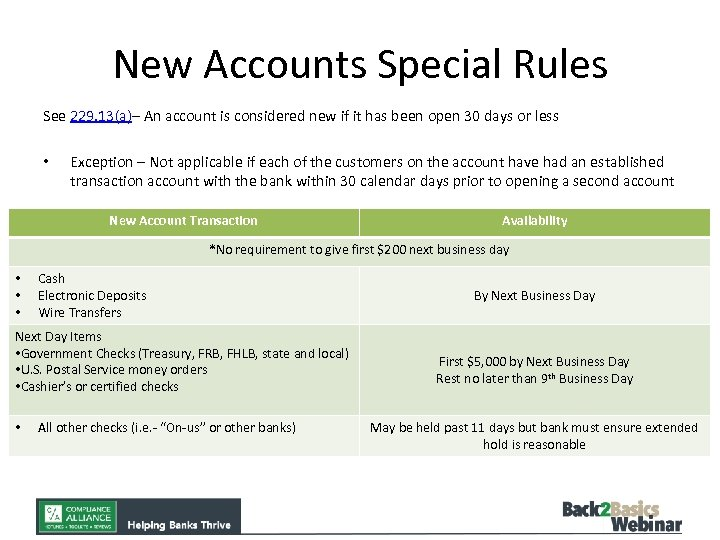 New Accounts Special Rules See 229. 13(a)– An account is considered new if it