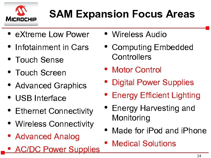SAM Expansion Focus Areas • • • e. Xtreme Low Power Infotainment in Cars