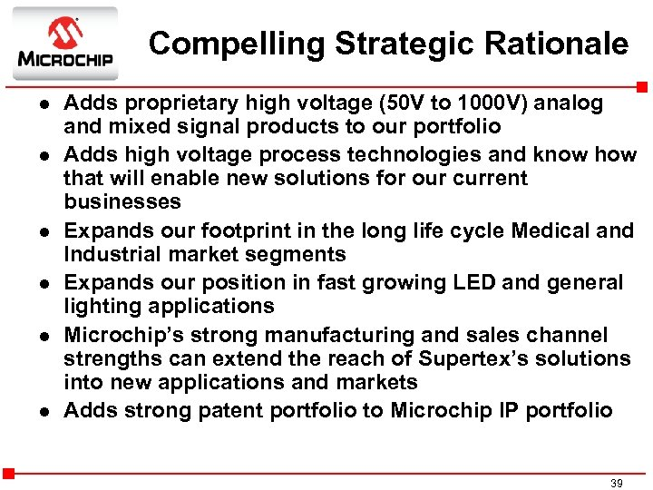 Compelling Strategic Rationale l l l Adds proprietary high voltage (50 V to 1000