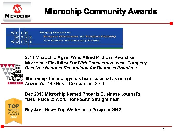 Microchip Community Awards 2011 Microchip Again Wins Alfred P. Sloan Award for Workplace Flexibility
