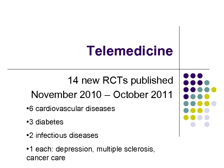 Telemedicine 14 new RCTs published November 2010 – October 2011 • 6 cardiovascular diseases