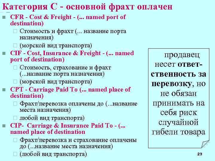 Категория C - основной фрахт оплачен n n CFR - Cost & Freight -