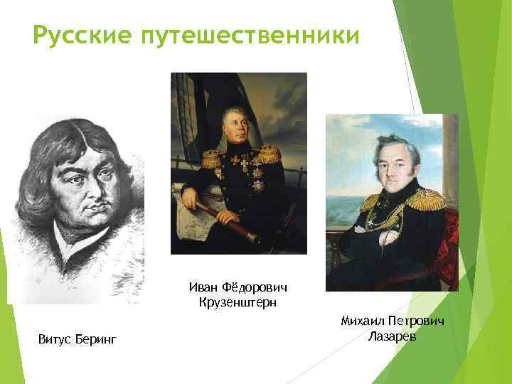 Русские путешественники Иван Фёдорович Крузенштерн Витус Беринг Михаил Петрович Лазарев