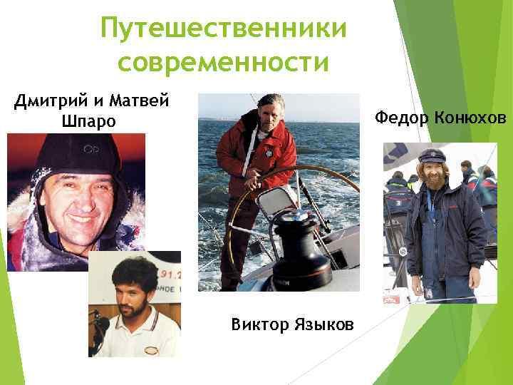 Путешественники современности Дмитрий и Матвей Шпаро Федор Конюхов Виктор Языков