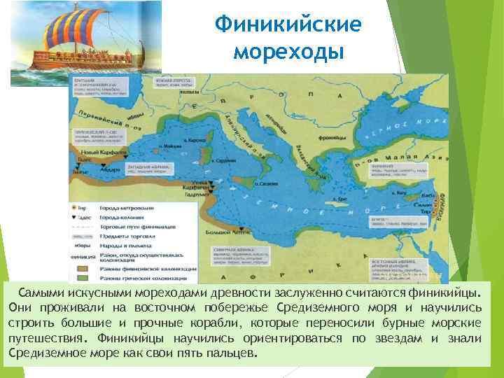 Финикийские мореходы Самыми искусными мореходами древности заслуженно считаются финикийцы. Они проживали на восточном побережье