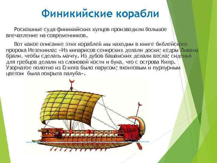 Финикийские корабли Роскошные суда финикийских купцов производили большое впечатление на современников. Вот какое описание