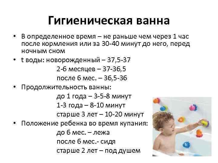 Гигиеническая ванна • В определенное время – не раньше чем через 1 час после