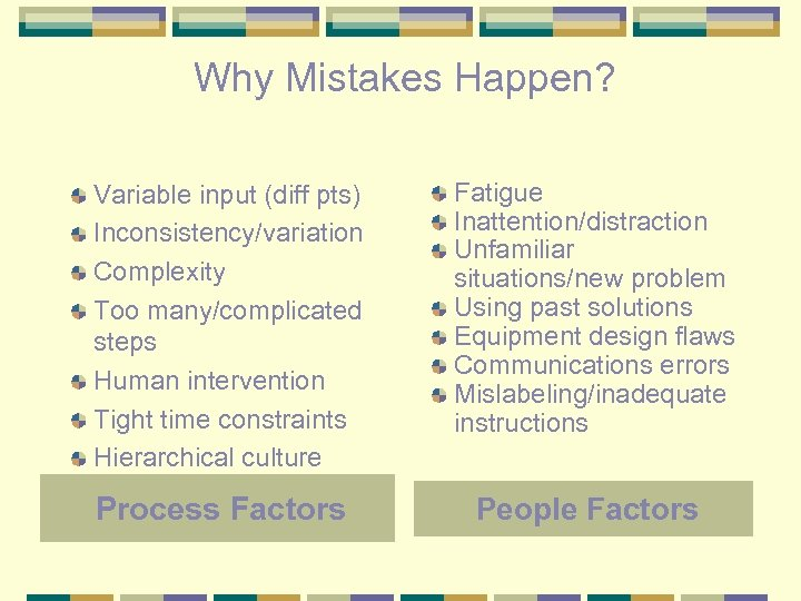Why Mistakes Happen? Variable input (diff pts) Inconsistency/variation Complexity Too many/complicated steps Human intervention