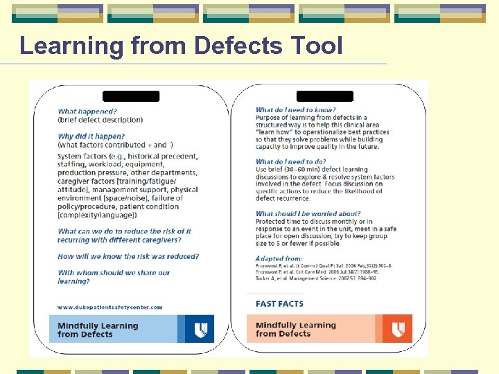 Learning from Defects Tool Page 20