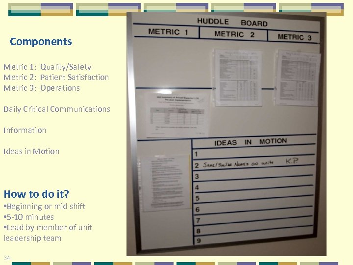 Components Metric 1: Quality/Safety Metric 2: Patient Satisfaction Metric 3: Operations Daily Critical Communications
