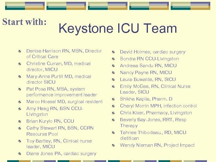 Start with: Keystone ICU Team Denise Harrison RN, MSN, Director of Critical Care Christine