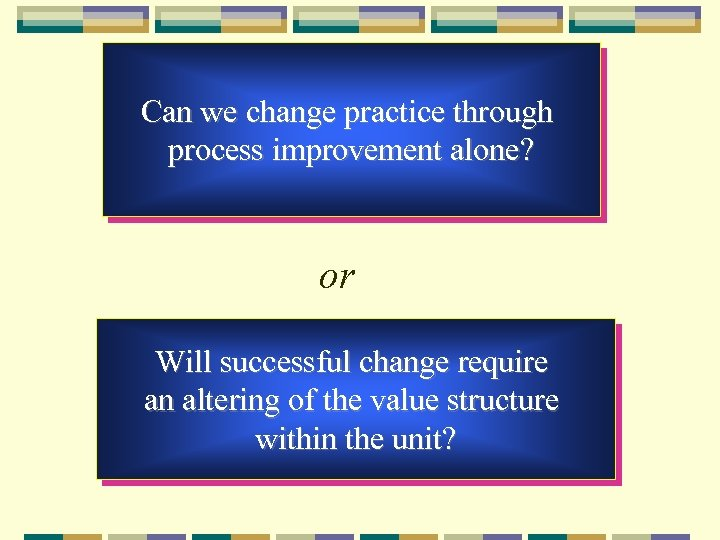 Can we change practice through process improvement alone? or Will successful change require an