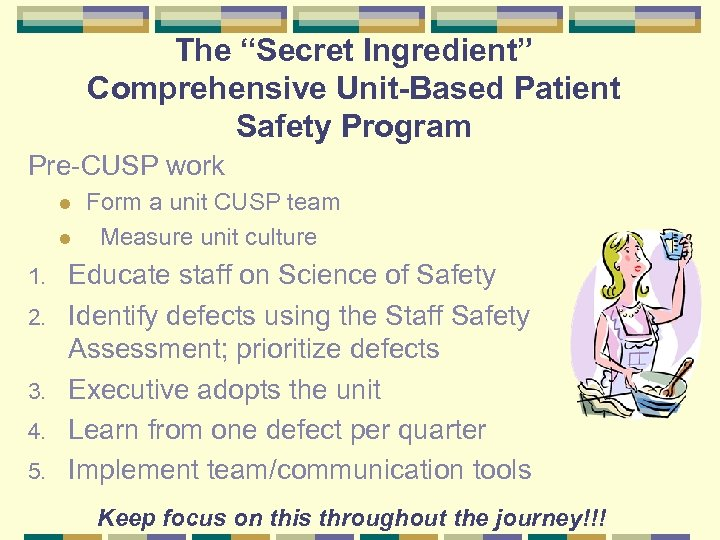 "The ""Secret Ingredient"" Comprehensive Unit-Based Patient Safety Program Pre-CUSP work l l 1. 2."
