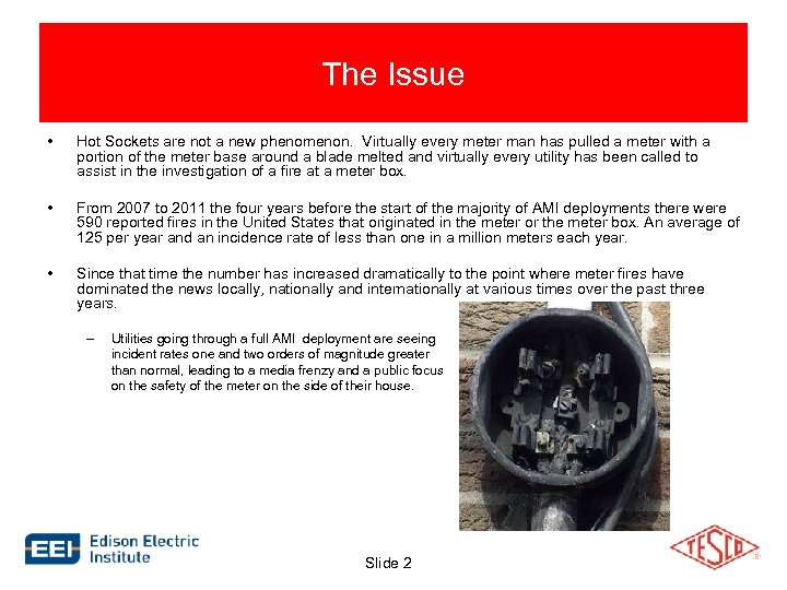 The Issue • Hot Sockets are not a new phenomenon. Virtually every meter man