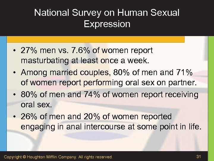 National Survey on Human Sexual Expression • 27% men vs. 7. 6% of women
