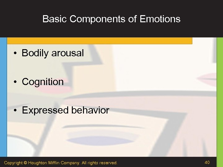 Basic Components of Emotions • Bodily arousal • Cognition • Expressed behavior Copyright ©