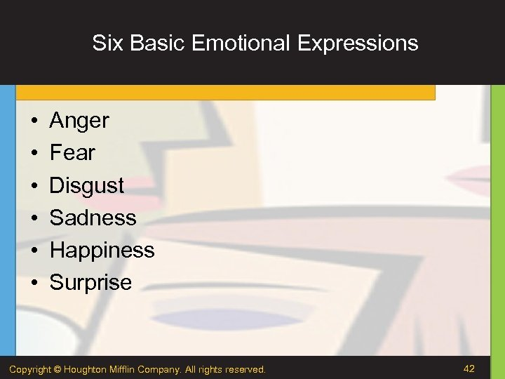 Six Basic Emotional Expressions • • • Anger Fear Disgust Sadness Happiness Surprise Copyright