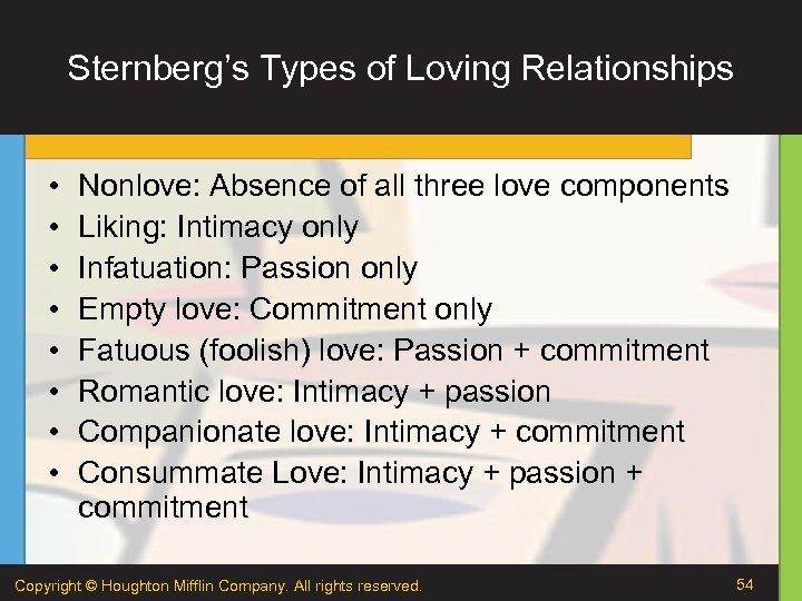 Sternberg's Types of Loving Relationships • • Nonlove: Absence of all three love components
