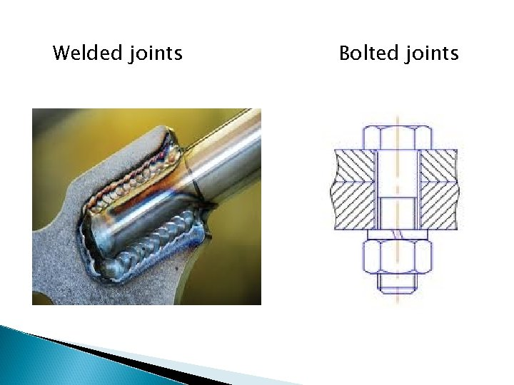 Welded joints Bolted joints