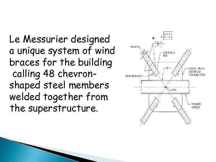 Le Messurier designed a unique system of wind braces for the building calling 48