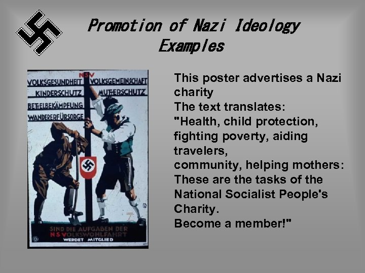 Promotion of Nazi Ideology Examples This poster advertises a Nazi charity The text translates: